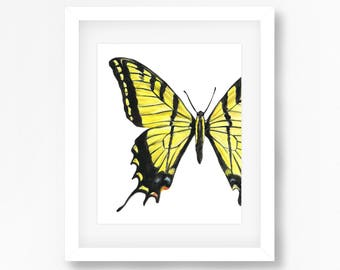 Esatern Tiger Swallowtail Butterfly Watercolor Fine Art Print