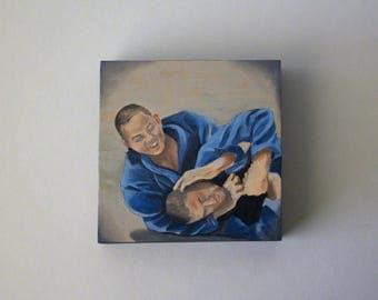 Brazilian Jiu Jitsu artwork small original oil painting