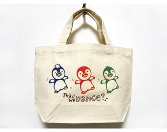Penguins Small Tote Bag, Penguin, Dancing Penguins, Small Canvas Tote Bag, Tote Bag, Love Penguin