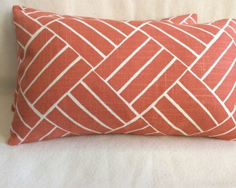 Set of 2 Geometric Designer Lumbar Pillow Covers - Coral/ Off White - 12x20 Covers