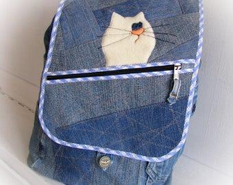 Jean backpack Denim backpack Reused denim Recycled jeans Rucksack Jeans backpack