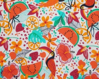 """Dressmaking Designer Fabric, White Fabric, Bird Print, Sewing Fabric, Indian Decor, 41"""" Inch Cotton Fabric By The Yard ZBC7536A"""
