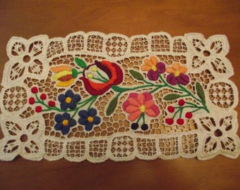 SALE! 5% off Traditional Hungarian hand embroidery Kalocsai Richelieu table runner centerpiece Hungary Kalocsa homedekor handmade  Gift