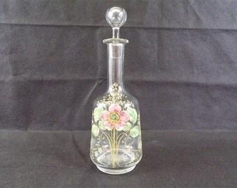 decanter vintage enamelled legras shabby chic vintage deco collection glass enamelled vintagefr France