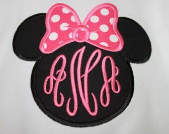 Girls Minnie Mouse Applique Shirt, Girl's Applique Shirt, Girls Monogrammed Applique Shirt, Girls Minnie Mouse Shirt, Baby Girl Shirt