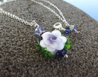 Floral Necklace, Flower Necklace, White, Purple, Green Necklace, Lampwork Glass Necklace, Gift For Mum