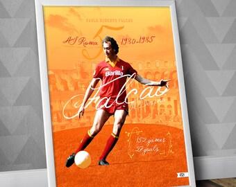 Falcão - Il divino / AS Roma / Falcao / Illustration Poster Print