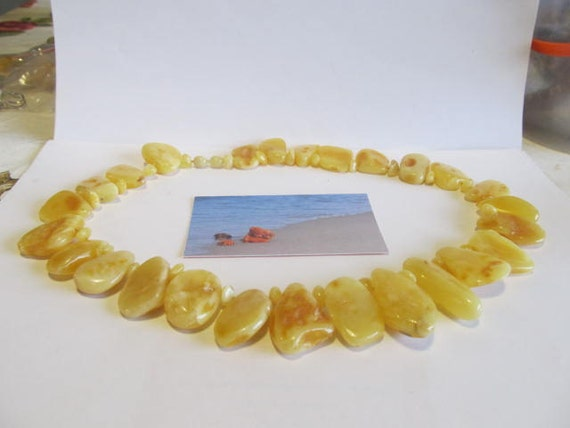 "100% Natural #Baltic #Amber #Necklace 79.4 gr, 20.47""(52 cm) polished yellow egg yolk opaque brown raw stones free shape Bernstein kette"