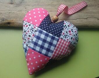 Fabric heart , patchwork heart , handmade heart , handmade fabric heart , hanging heart , fabric love heart