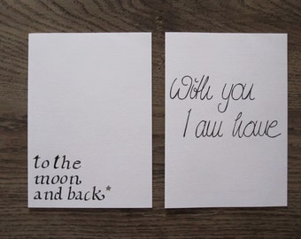 """set of 2 greeting cards """"Handlettering"""""""