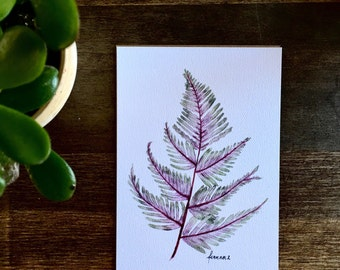 """Jepenese Painted Fern / Archival Watercolor Print/ 5x7"""""""