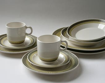 Hacienda Green dinnerware for two - large plates, bowls, side plates, cups and saucers - made in Japan