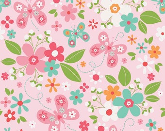Garden Girl Main Pink - Riley Blake Designs - Butterfly Floral Flowers - Quilting Cotton Fabric - by the yard fat quarter half