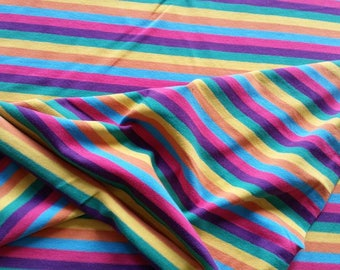 Yarn Dyed Rainbow Stripes Light Weight Cotton Lycra Jersey Knit Fabric