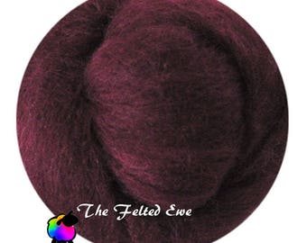 Needle Felting Wool Roving / DR67 Merlot on My Blouse Carded Wool Roving Sliver