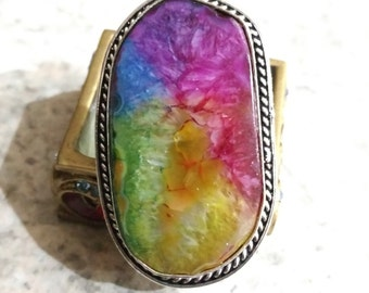 Rainbow Agate Party Ring Size 6.5
