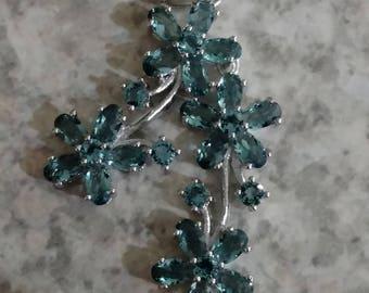 Blue Topaz Bouquet of Flowers Pendant Necklace