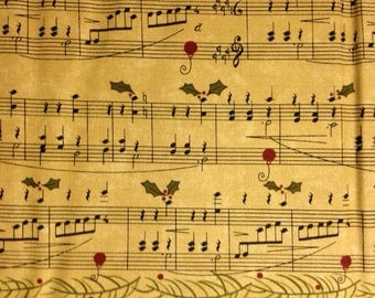 Musical Notes with Holly on Eggnog Background, Delightful December by Sandy Gervais for Moda Fabrics, 100% Cotton