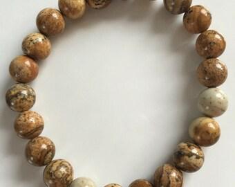 Picture Jasper Gemstone Stretch Bracelet Genuine and natural brown tan bracelet Picture Jasper 8mm bracelet
