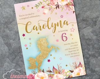 Unicorn - Magical - Birthday Invitation