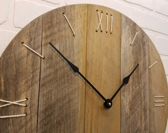 """Wood wall clock 18"""" with rope numbers."""