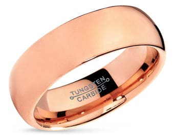 Tungsten Ring Rose Gold Wedding Band Ring Tungsten Carbide 7mm 18K Tungsten Ring Man Wedding Band Male Women Anniversary Matching