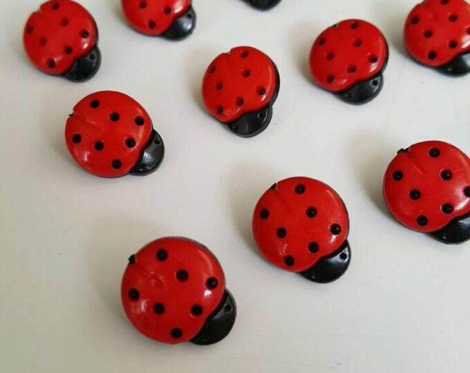 Pack of 15,Ladybird, ladybug buttons, scrapbooking supplies, craft buttons, sewing, crochet, children's crafts, kids craft, ladybird button