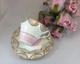Vintage Trio Pink and Gilt Patterned Mid-century Afternoon Tea Gift Tea cups Teaset  Pretty