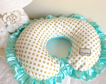 Glitz Gold Dot and Mint Boppy Cover, Mint and Gold Boppy Cover, Gold Boppy Covers, Personalized Boppy Covers