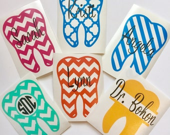 Tooth Decal | Monogram Tooth Decal | Yeti Decal