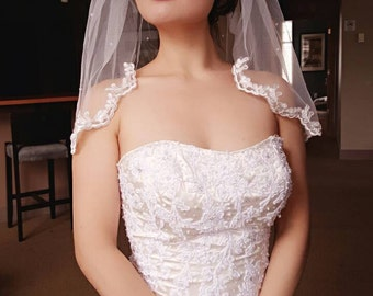 Bridal Wedding Light Ivory/White One Tier Shoulder Length Veil Tulle Wedding Lace Edge Scattered Pearls READY TO SHIP