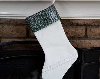 Green Sailcloth Christmas Stocking - Holiday Stocking - Carbon Fiber Stocking - Nautical Stocking - Green and Black
