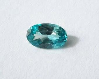 1.70 cts, blue zircon, 8 mm x 6 mm x 4mm, loose genuine gemstone, blue zircon gem, natural gemstone