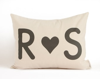 Valentines Gift for Him, Gift for Her, Anniversary Gift, Cotton Anniversary, Throw Pillow, Initials Custom Pillow