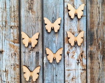 8 Pieces Butterfly Wood Tags, Wood Blanks, Pendants, Wood Pendant, Wood Craft Supply, Wood Supplies, Wood Squares, Craft Wood, Wood Pendants