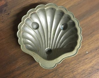 Metal Shell Clam Mermaid Dish