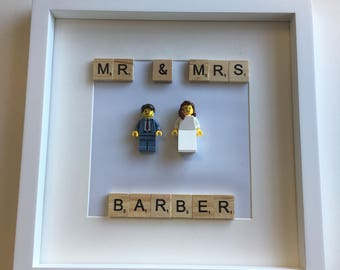 Lego Bride and Groom Personalised Frame Art