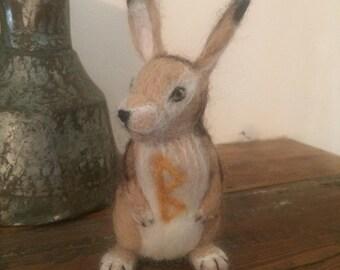 Needle Felt Rabbit with Berkano Rune Ready-to-Ship