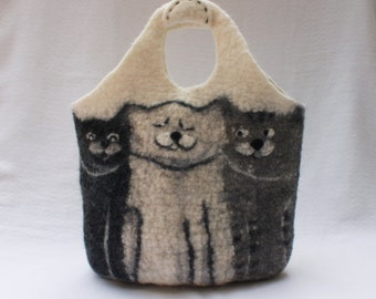 Three Cats Felted Purse