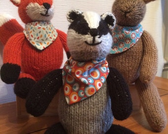 Hand knitted badger, knitted badger, badger with bandana, woodland animals