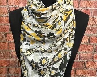 Cotton Spring scarf Floral print/ green mustard mix scarf- khaki green tassels