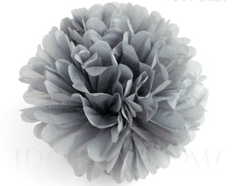 Ash Grey Tissue Paper Pom Poms - Wedding Party Decorations - Baby shower Decorations