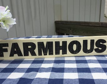 Farmhouse Wood Sign - Handpainted Rustic Wall Hanging - Cream, Black Wooden Sign