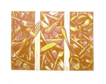 Forks Knives Spoons Original Linocut