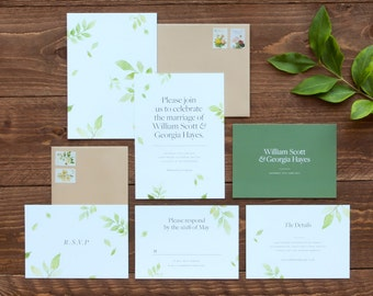 Botanical Wedding Collection Invitation Sample Set / Floral Wedding Invitation / Watercolour Wedding Invitation / Rustic / Garden Wedding