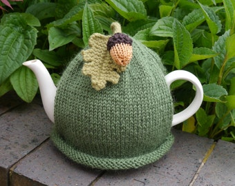 Autumn Acorn Tea Cosy, Fall Oak Leaf Teapot Cozy