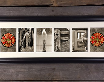 Fire Department Wife,  Letter Art Sign, Architectural Letter Art