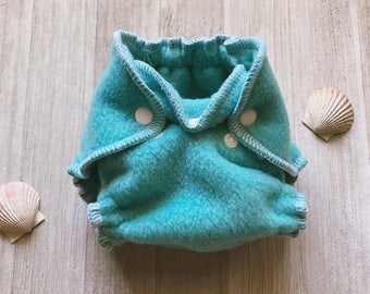 Turquoise Hybrid Fitted Newborn Diaper with Umbilical Cord Snap