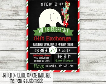 White Elephant Gift Exchange Invitation