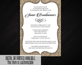 Champaign Bridal Shower Brunch Invitation